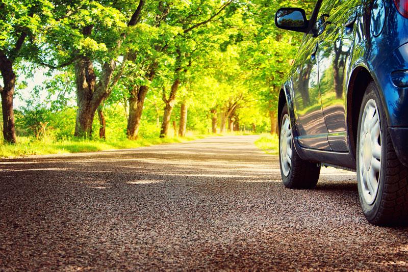 a car on a summer road