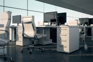 a desk in an office